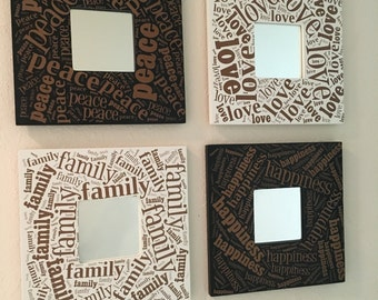 Peace, Love, Happiness, Family Mirror Frames Set