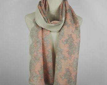 Lace Scarf Valentine Scarf Wool Scarf Pink Scarf Pink Wool Scarf Pink Wrap Shawl Boho Scarf Gray Scarf Pink Shawl Wool Shawl Lace Shawl Lcae