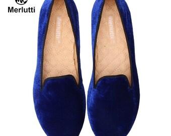Women Merlutti plain Royal blue Velvet Loafers flats
