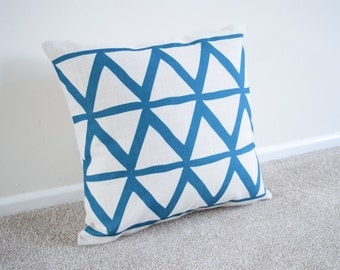 Blue Large Triangles Geometric/Scandinavian Cotton Linen Cushion/Pillow Cover in 18 x 18""