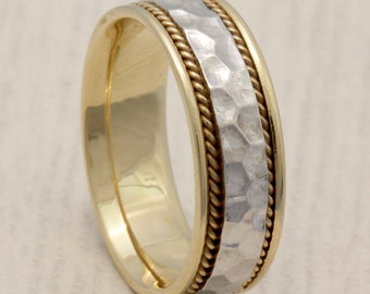 8mm 14K/18K Two Tone Gold Hand Hammered Design, Comfort Fit with Rope Twist , Wedding Band, Gold Rings ,FREE ENGRAVING