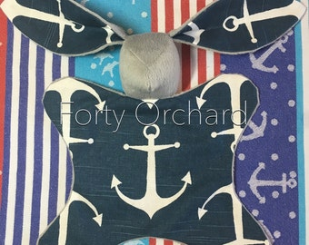 In Stock and Ready to Ship Anchors Skipper nautical lovey bunny blanket Tula accessory coordinate