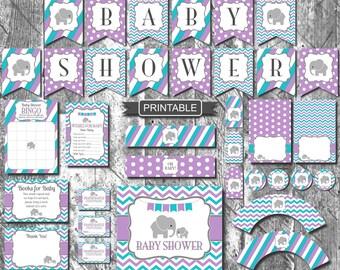 Teal Purple Grey Elephant Girl Baby Shower Decorations Package Printables  Digital PDF Instant Download