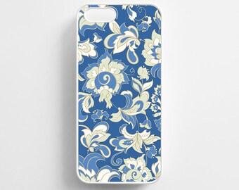 Blue Floral Pattern Vintage Flowers. iPhone 4/4s, iPhone 5/5s, iPhone 5c, iPhone 6, iPhone 6 Plus Case Cover 018