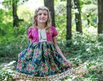 Secret Garden dress, back to school dress, girls boutique dress, girls flower dress