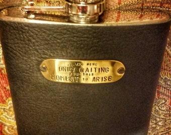 Beatles - Blackbird leather flask with hand-stamped brass lyrics