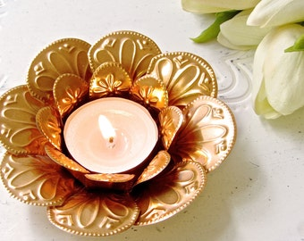 Copper Lotus Flower Tea Light Candle Holder, Embossed Metal, Bohemian Wedding, Vintage Wedding