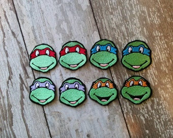 READY TO SHIP!!! Teenage Mutant Ninja Turtles Inspired Embroidered Iron On Patch! Ready to ship! Small 2x2 Set of two!