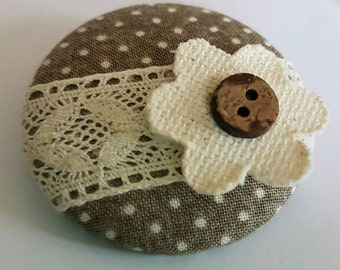 Handmade fabric, lace and fabric button brooch.