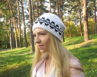 ON SALE: Black White Beanie, Mens Ski Hat, Womens Black Beanie, Crochet Beanie, Embroidered Hat, Teens Hat, White Fall Hat, Christmas gift
