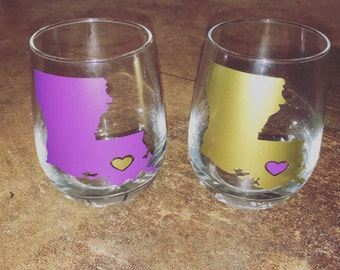 LOUISIANA Heart Stemless Wineglass