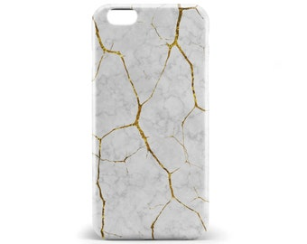 1347 // White and Gold Marble Textured Phone Case iPhone 5/5S, 6/6S, 6+/6S+ Samsung Galaxy S5, S6, S6 Edge Plus, S7