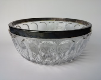 Silver rimmed Cut Glass Serving Bowl