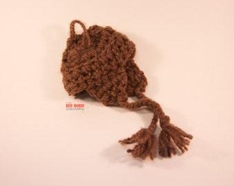Brown Crocheted Infant/Newborn Hat w/ Earflaps