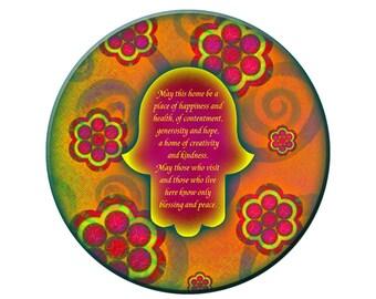 Round glass cutting board, hamsa on floral, judaica home decor, Jewish wedding gift, Rosh Hashana challah plate, trivet, home blessing