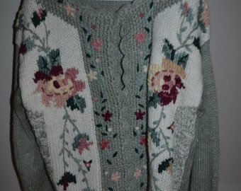 Shenanigans Hand-Knitted Floral Cardigan