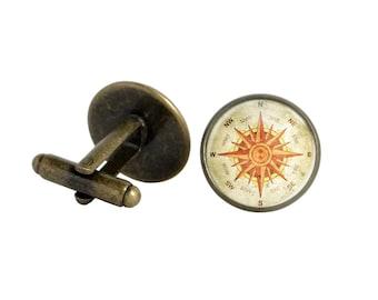 Orange Cuff Links Compass Accessory Orange Metal Bronze Cufflinks Vintage Inspired Cufflinks Vintage Orange Cuff Links Compass Accessory
