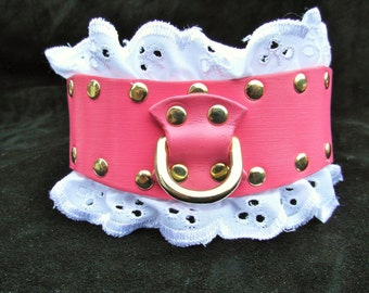 Pink Babygirl Collar, ddlg collar, Submissive Collar, Sissy Collar, Pink Leather Collar, Frilly Collar, BDSM Collar, Slave Collar, BDSM