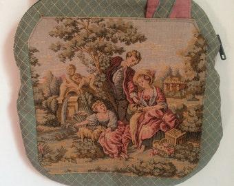 SALE WAS 18 Vintage Handmade Handbag Top Handle Fabric Bag