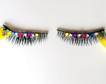 Yellow Feather Carnival Style Multicolour Crystal False Eyelashes. Festival/ Costume Make Up.