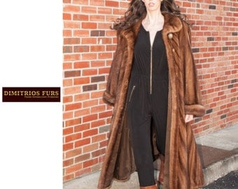 Demi buff directional full length mink coat - plus size 20 (C237)