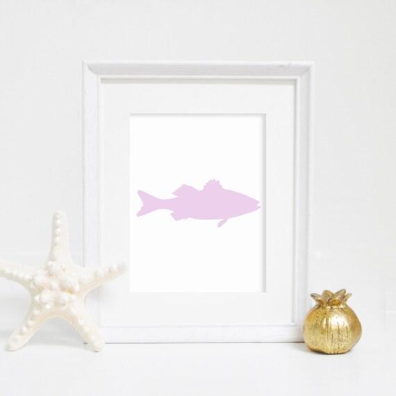 Sea Bass Print, Purple Bass Print, Fish Print, Nautical Wall Art, Beach House Decor, Purple Prints, Lavender Art, Fish Wall Art