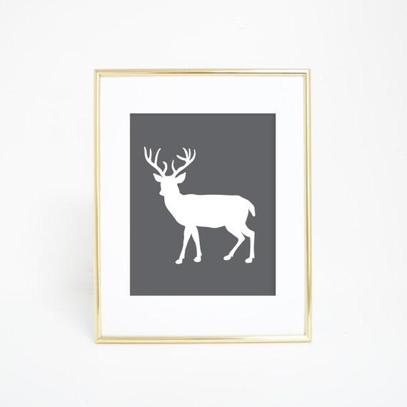 Deer Prints, Woodland Art Print, Deer Art, Gray Art Print, Printable Artwork, Deer Wall Print, Deer Wall Art, Digital Prints, Deer Artwork