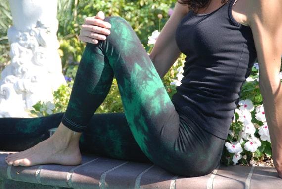 Twilight Green Tie Dye Yoga Leggings by Splash Dye Activewear