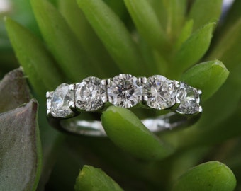 3.5mm Five Stone Diamond Ring Anniversary Band 14k White Gold (1.85ctw)