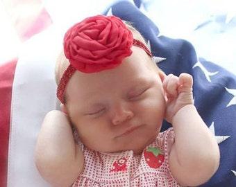 Red Chiffon Rose Flower Headband Photo Prop
