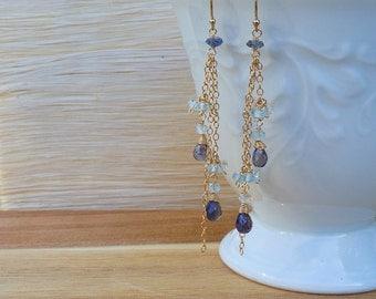 Iolite Earrings Blue Topaz Earrings Long Earrings Delicate Earrings Dangle Earrings Drop Earrings Blue Earrings