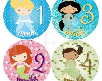 Princess Month Stickers - Baby girl Monthly stickers - Baby month stickers -  Months 1-12 stickers - baby girl princess stickers