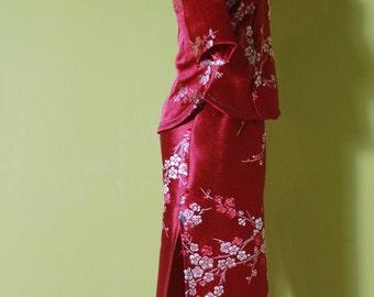 Digital Cheongsam Pattern(Blouse + Skirt), middle sleeves , Mandarin Stand-up collar, Slanting Jin,Low Openings  XXS|XS|S|M