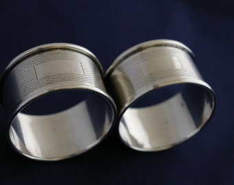 Two Solid Silver Napkin Rings Birmingham 1960