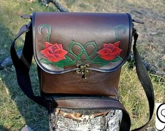 Roses red leather bag