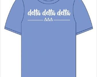 Delta Delta Delta  // Tri Delta // Sorority Short Sleeve Comfort Color Tshirt (Greek Shirt) // Choose Your Color