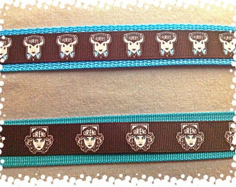 One Wide Custom Made Adjustable Furies or  Sirens Roller Derby Team Dog Collar