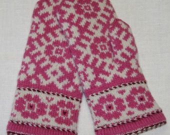 Hand-knitted double mittens from natural wool with latvian ethnographic ornaments. Colours-pink,white,claret.