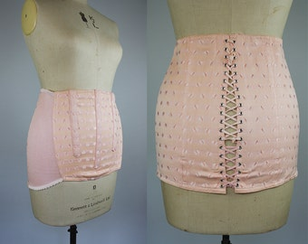 1950s French Corset / 50s Waist Cincher / Plus Size Vintage / Size XL / 1950s Girdle