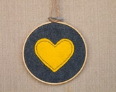 SALE***Grey & Yellow Stitched Heart | Felt Embroidery Wall Art in 5x5 Wooden Embroidery Hoop | Valentine's Decoration | Heart Embroidery