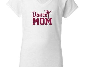 Dance Mom Dancing Glitter Dancer Women's White Short Sleeve V Neck T-Shirt Top