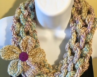 Hand knit tan cowl with flower