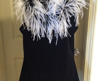 Black Velvet and Feather Blouse, size 12
