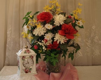 Table flowers, Mother's Day Gift, Bouquet, Red Roses, Faux Floral, Summer Flowers, Spring flowers