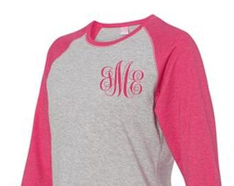 Monogram Tee-Shirt-t-with monogram-personalized-initialed-raglan-custom-pink-hot pink-initials