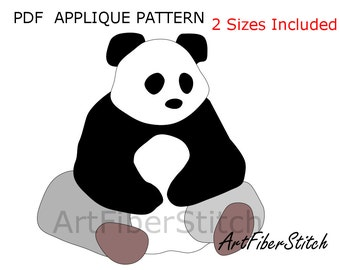 Panda PDF Applique Template Pattern - available for instant download from ArtFiberStitch