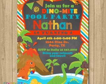 Dinosaur Invitation, Dinosaur Birthday Invitation, Dinosaur Pool Party Invitation, Dino Pool Party Invitation Chalkboard