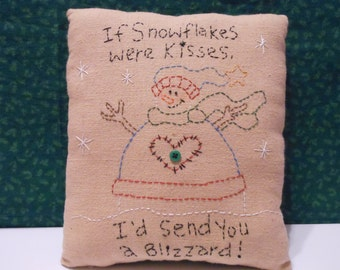Stitchery, Snowman Blizzard of Kisses, Pillow, Holiday Decor, Christmas Decor