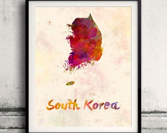 South Korea - Map in watercolor - Fine Art Print Glicee Poster Decor Home Gift Illustration Wall Art Countries Colorful - SKU 1830