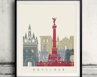 Bordeaux skyline poster - Fine Art Print Landmarks skyline Poster Gift Illustration Artistic Colorful Landmarks - SKU 1595